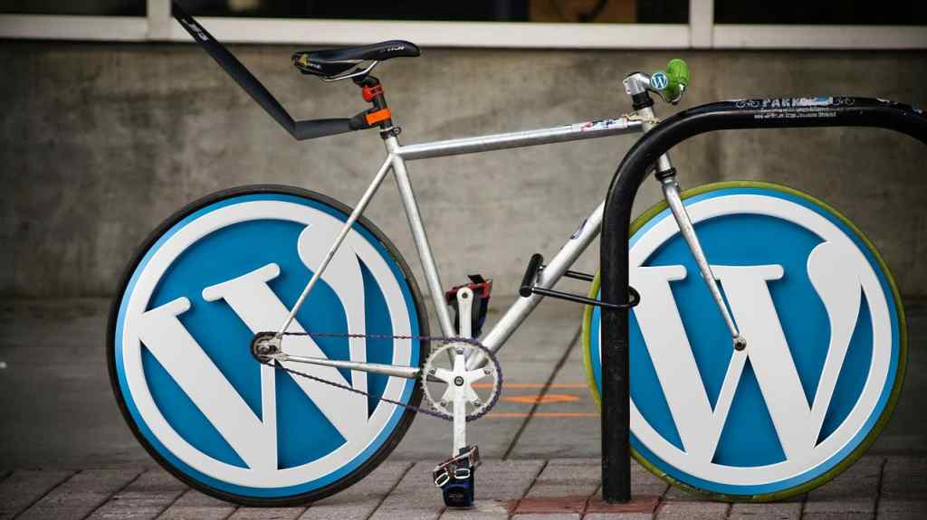 wordpress website design with logo illustrated in a bicycle