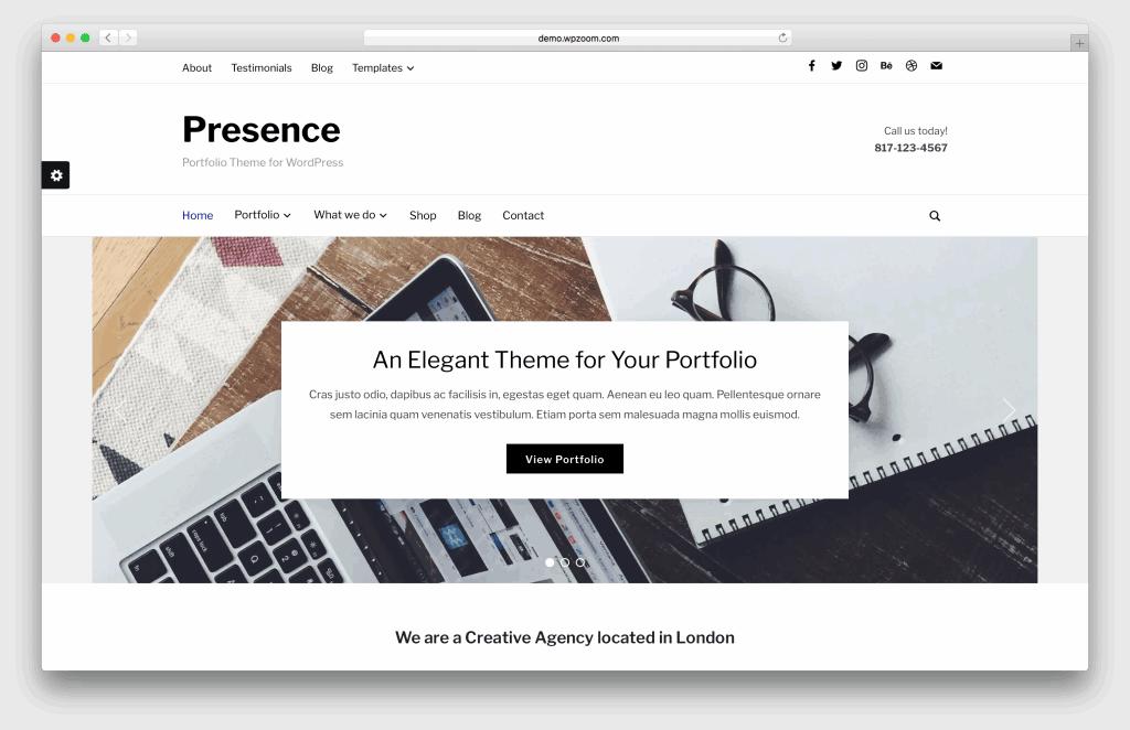 Presence WordPress portfolio theme screenshot