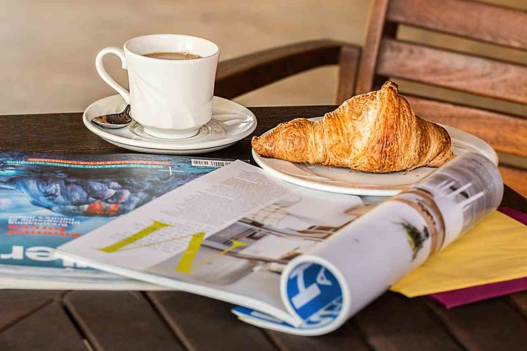morning coffee and croissant for blogging