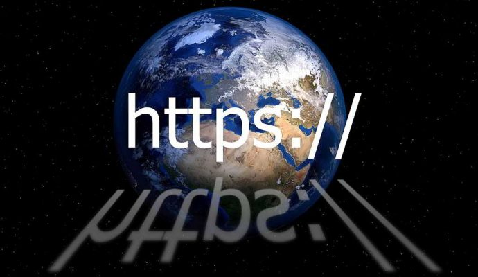 https address bar with world globe in background